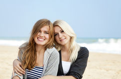Two girls at outdoor near sea Royalty Free Stock Images