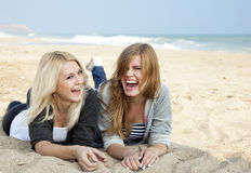 Two girls at outdoor near sea Royalty Free Stock Photo