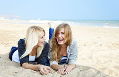 Two girls at outdoor near sea. Royalty Free Stock Photography