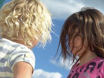 Two girls outdoors Royalty Free Stock Images