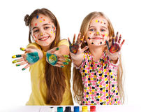 Two girls painted Royalty Free Stock Images