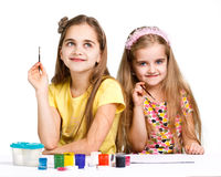 Two girls painted Stock Photography