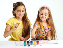 Two girls painted Stock Photo