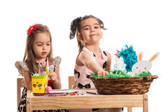 Two girls painting Royalty Free Stock Photography