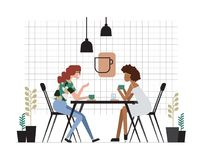 Two girls or pair of female friends sitting at table, drinking coffee and talking. Friendly meeting and conversation at. Cafe. Cute cartoon characters. Colorful Royalty Free Illustration