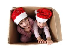 Two girls in the paper box Stock Photos