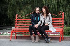 Two girls in park. Royalty Free Stock Photography