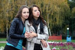 Two girls in park. Stock Photos