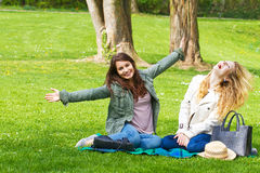 Two girls in the park Royalty Free Stock Image