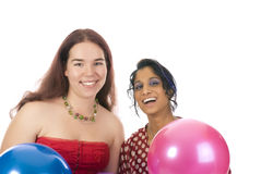 Two girls on the party. Isolated over whitew Stock Photo