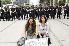 Two girls peaceful protest. Stock Photo