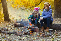 Two girls on picnic Stock Image