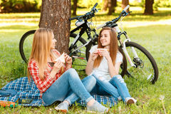 Two girls on a picnic with bikes. Two young beautiful girls with long hair sitting on a blue checkered mat under a tree eating sandwiches and smiling, while Royalty Free Stock Images