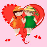 Two girls with pigtails in colored dresses and hats are holding hands, on a pink background, heart. Two girls with pigtails in colored dresses and hats are Royalty Free Stock Image