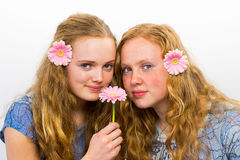 Two girls with pink flowers in hair Royalty Free Stock Photos