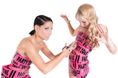 Two girls in pink tape dresses Stock Images