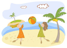 Two girls play on the beach. Illustration in  format Royalty Free Stock Photo