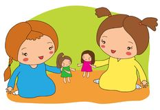 Two girls play dolls. Vector illustration Royalty Free Stock Image