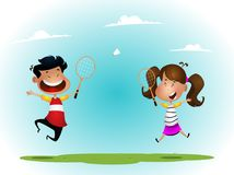 Two girls playing badminton outdoor. Two cartoon children playing badminton outdoor. Vector royalty free illustration