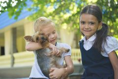 Two girls playing with a dog royalty free stock photos