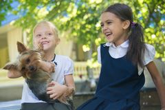 Two girls playing with a dog royalty free stock photo