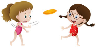Two girls playing frisbee vector illustration