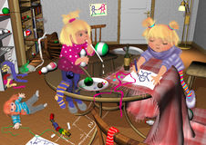 Two girls playing in a messy room. Messy room, glass table with upturned baby bottles, toys and plates, chairs lying around 3D illustration, two girls playing Royalty Free Stock Photo