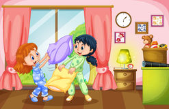 Two girls playing pillow fight. Illustration Stock Images