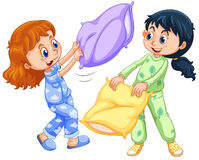 Two girls playing pillow fight at slumber party. Illustration Stock Photography