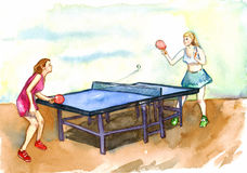 Two girls playing ping pong. Hand painted watercolor sports illustration Stock Photography