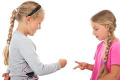 Two girls playing rock paper scissors Stock Photography