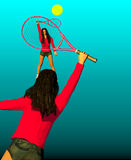 Two girls playing tennis. Over a blue background, 3D illustration, raster illustration Royalty Free Stock Photo