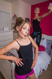 Two girls playing in their room Royalty Free Stock Images