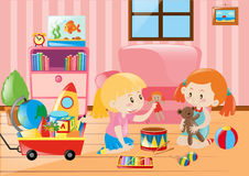 Two girls playing with toys in room. Illustration Royalty Free Stock Image