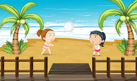 Two girls playing volleyball. Illustration of two girls playing volleyball Stock Images