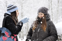 Two girls plays Stock Photography