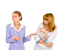 Two girls point fingers Royalty Free Stock Photos
