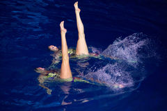 Two girls in pool performing at Show Olympic champions. MOSCOW - DEC 21: Two girls in pool performing at Show Olympic champions in synchronized swimming in royalty free stock images