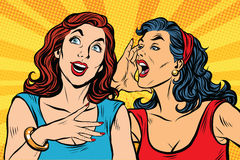 Two girls pop art scream Stock Image