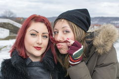 Two girls posing for a funny portrait in winter Royalty Free Stock Image