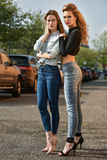 Two girls posing sexy. Stock Photography