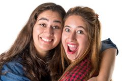 Two girls posing together stock photo