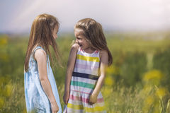 Two girls are pretty children in nature happily smiling in the s. Two little girls are pretty children in nature happily smiling in the sunshine royalty free stock images