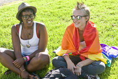 Two girls at the Pride Parade Royalty Free Stock Photo