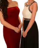 Two girls in prom dresses Stock Photo