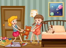 Two girls pulling teddy bear in bedroom Royalty Free Stock Photo