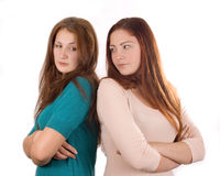 Two girls in quarrelc Royalty Free Stock Photos