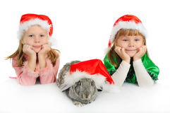 Two girls with a rabbit in red caps of Santy. Over white stock photos