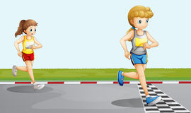 Two girls racing. Illustration of the two girls racing Stock Photography