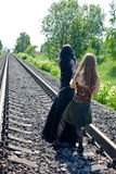 Two girls on railway Royalty Free Stock Image